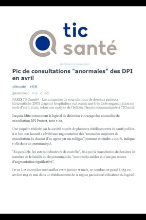 Daqsan editeur de logiciel, article sur le nombre inquiétant des consultations irrégulières aux Dossiers Patients Informatisés