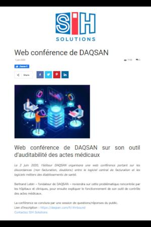 Daqsan editeur de logiciel, article annoncant la présentation via webconférence d'ADAM, solution d'Audit des Actes Médicaux